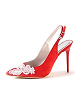 cheap -Women's Shoes Silk Spring Summer Basic Pump Wedding Shoes Stiletto Heel Pointed Toe Applique for Wedding Party & Evening Red
