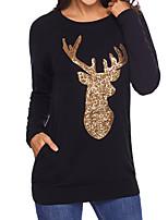 abordables -Tee-shirt Femme,Motif Animal Quotidien Décontracté Automne Manches longues Col Arrondi Polyester Opaque