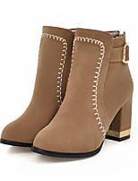 baratos -Feminino Sapatos Pele Nobuck Primavera Outono Conforto Inovador Botas da Moda Botas Salto Robusto Dedo Apontado Botas Curtas / Ankle