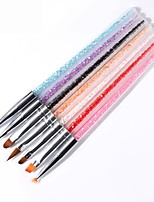 cheap -7Pcs/Set Rhinestones Handle Nail Brush For DIY UV Gel Polish Drawing Liner Carving Painting Nail Art Pens Manicure Tools