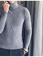cheap -Men's Casual/Daily Simple Regular Pullover,Solid Turtleneck Long Sleeves Polyester Winter Fall Opaque Micro-elastic