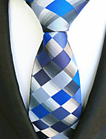 cheap -Men's Polyester Necktie,Work Casual Plaid/Checkered All Seasons Blue