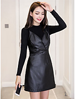 cheap -Women's Club Sexy All Seasons T-Shirt Dress Suits,Solid Stand Long Sleeve PU Polyester Pleuche Micro-elastic