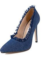preiswerte -Damen Schuhe PU Frühling Sommer Komfort High Heels Stöckelabsatz Spitze Zehe Geschlossene Spitze für Normal Blau