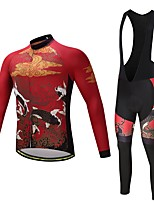 cheap -Cycling Jersey with Bib Tights Men's Long Sleeves Bike Bib Tights Tights Pants / Trousers Jersey Top Clothing Suits Fleece Bike Wear