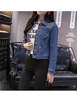 economico -Giacca di jeans Da donna Quotidiano Casual Inverno Autunno,Tinta unita Colletto Cotone Corto Maniche lunghe