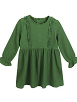 Girl's Casual/Daily Solid Dress,Polyester Winter Fall Long Sleeves Simple Green
