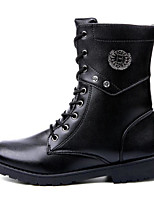 cheap -Men's Shoes PU Winter Fall Comfort Combat Boots Boots Walking Shoes Mid-Calf Boots Stitching Lace for Casual Black