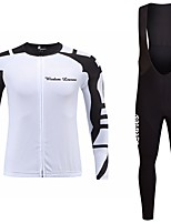 cheap -Cycling Jersey with Bib Tights Unisex Long Sleeves Bike Jersey Clothing Suits Bike Wear Fast Dry Geometric Cycling / Bike Red Black
