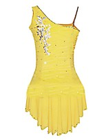 cheap -Figure Skating Dress Women's Girls' Ice Skating Dress Yellow Spandex Inelastic Performance Practise Skating Wear Solid Sleeveless Ice