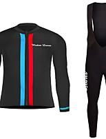 cheap -Cycling Jersey with Bib Tights Unisex Long Sleeves Bike Jersey Clothing Suits Bike Wear Fast Dry Geometric Cycling / Bike Green/Yellow
