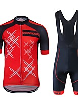 cheap -Cycling Jersey with Bib Shorts Unisex Short Sleeves Bike Clothing Suits Bike Wear Quick Dry Geometric Cycling / Bike Red