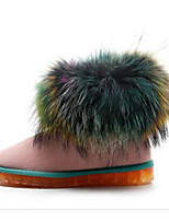 abordables -Femme Chaussures Fourrure Printemps Automne Confort Bottes de neige Bottes Talon Plat Bottine/Demi Botte pour Décontracté Noir Rose
