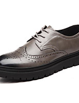 cheap -Men's Shoes Synthetic Microfiber PU Spring Fall Comfort Oxfords for Casual Gray Black
