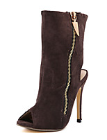 baratos -Feminino Sapatos Courino Primavera Verão Botas da Moda Curta/Ankle Conforto Inovador Botas Salto Agulha Peep Toe para Casamento Casual
