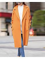economico -Impermeabile Da donna Casual Semplice Inverno Autunno,Tinta unita A V Cotone Acrilico Lungo Maniche lunghe Oversized