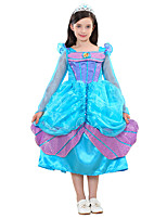 cheap -Princess Fairytale One Piece Dress Kid Halloween Festival / Holiday Halloween Costumes Cyan Mermaid