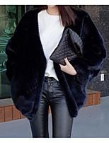 Недорогие -Для женщин На выход На каждый день Зима Осень Пальто с мехом V-образный вырез,Уличный стиль Однотонный Обычная Длинные рукава,