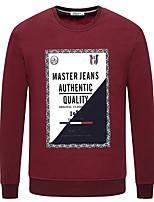 cheap -Men's Plus Size Going out Casual/Daily Simple Sweatshirt Color Block Round Neck Without Lining Inelastic Cotton Long Sleeves Winter Fall