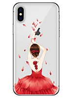 cheap -Case For Apple iPhone X / iPhone 8 Plus / iPhone 8 Pattern Back Cover Sexy Lady / Flower Soft TPU