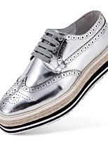 Men's Shoes Cowhide Winter Fall Comfort Oxfords Walking Shoes Stitching Lace for Casual Black Silver