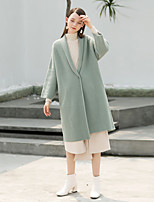 cheap -MASKED QUEEN Women's Holiday Casual/Daily Simple Vintage Regular Cardigan,Solid Shirt Collar Long Sleeves Polyester Winter Thick strenchy