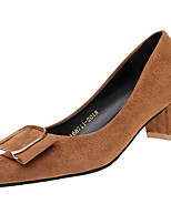 cheap -Women's Shoes PU Spring Fall Comfort Heels Low Heel for Outdoor Almond Brown Black