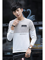 cheap -Men's Going out Street chic Sweatshirt Solid Round Neck Micro-elastic Cotton Eco-friendly Polyester Long Sleeves Fall