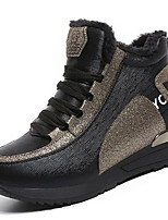 preiswerte -Damen Schuhe PU Frühling Herbst Komfort Sneakers Flacher Absatz Runde Zehe für Normal Weiß Schwarz