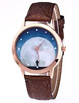 preiswerte -Damen Armbanduhr Chinesisch Quartz Mond Phase PU Band Mehrfarbig Schwarz Weiß Blau Braun Grün Rosa Rose