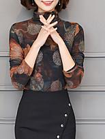 economico -T-shirt Da donna Quotidiano Per uscire Casual Inverno Autunno,Con stampe A collo alto Cotone Poliestere Maniche lunghe Spesso