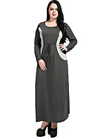 cheap -Cute Ann Women's Party Holiday Vintage Casual Street chic Loose Shift Jalabiyah Dress,Color Block Patchwork Round Neck Maxi Long Sleeve Cotton