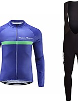 cheap -Cycling Jersey with Bib Tights Unisex Long Sleeves Bike Jersey Clothing Suits Bike Wear Fast Dry Geometric Cycling / Bike Dark Pink Blue