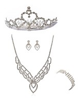 cheap -Women's Headwear Bridal Jewelry Sets Rhinestone Fashion European Wedding Party Imitation Diamond Alloy Body Jewelry 1 Necklace 1 Ring