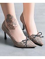 abordables -Mujer Zapatos Tejido Primavera Otoño Confort Tacones Tacón Stiletto para Casual Gris Marrón