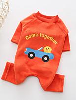 Chien Combinaison-pantalon Vêtements pour Chien Décontracté / Quotidien Dessin-Animé Orange Costume Pour les animaux domestiques