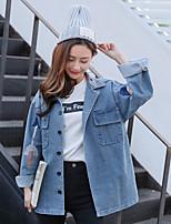baratos -Mulheres Padrão Jaqueta jeans Diário Vintage Inverno,Sólido Algodão Acrílico Decote Redondo Pregueado