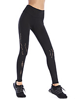 cheap -Women's Cut Out Sporty Polyester Medium Shredded Legging,Solid Black
