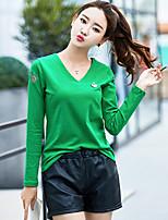 abordables -Mujer Casual Diario Camiseta,Escote en Pico Un Color Mangas largas Algodón