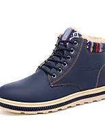 cheap -Men's Shoes PU Winter Fall Fur Lining Comfort Boots Booties/Ankle Boots for Casual Outdoor Khaki Blue Black
