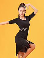 Latin Dance Dresses Women's Performance Ice Silk Lace Tassel(s) Half Sleeve Natural Dresses