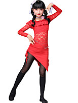 baratos -Devemos vestidos de dança da barriga Treinamento para crianças Padrão de poliéster / tiragem de faixas de bandagem de manga longa vestidos altos