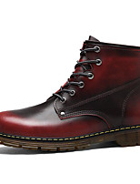 cheap -Men's Shoes Cowhide Spring Fall Comfort Combat Boots Boots Booties/Ankle Boots for Casual Burgundy Brown Black