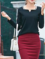 Недорогие -Для женщин Повседневные Зима Осень Футболка V-образный вырез,На каждый день Однотонный Длинные рукава,Полиэстер,Плотная