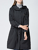 cheap -Women's Going out Simple Winter Fall Trench Coat,Solid Hooded Long Sleeve Long Cotton Oversized