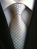 cheap -Men's Polyester Necktie,Work Casual Lattice All Seasons Silver