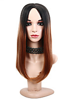 cheap -Women Synthetic Wig Medium Length Straight Black/Medium Auburn Natural Hairline Middle Part Party Wig Celebrity Wig Natural Wigs Costume