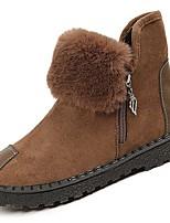 Недорогие -Для женщин Обувь Замша Полиуретан Зима Осень Удобная обувь Зимние сапоги Ботинки На низком каблуке Круглый носок Сапоги до середины икры