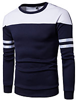 cheap -Men's Plus Size Sports Sweatshirt Geometric Round Neck Micro-elastic Cotton Long Sleeve Winter Spring/Fall