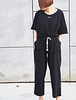 Women's Casual/Daily Simple Spring Fall Hoodie Pant Suits,Solid Round Neck Half Sleeve Pure Color Polyester Micro-elastic